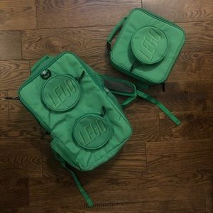 LEGO brick backpack AND lunch box NWOT green